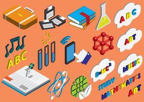 illustratie van info grafische onderwijs pictogrammen instellen concept vector