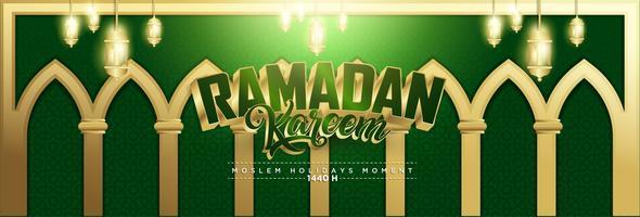Groene en gouden Ramadan Kareem-achtergrond 1440 Hidj met Ramadan Kareem 3d beletteringstekst