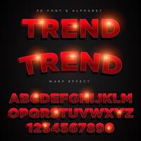 3D-rode gestileerde belettering tekst, lettertype & alfabet