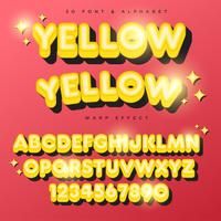 3D-gele gestileerde belettering tekst, lettertype en alfabet