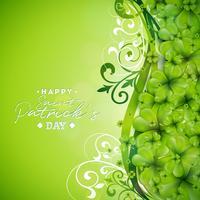 Saint Patrick's Day achtergrondontwerp met groene klaverblaadjes