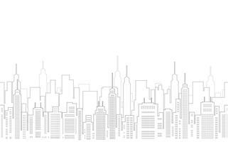 Naadloze cityscape tekening met wolkenkrabbers. vector