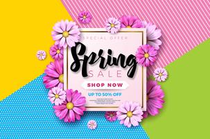 Lente verkoop achtergrondontwerp met prachtige kleurrijke bloem
