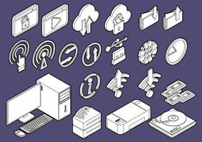 illustratie van info grafische computer pictogrammen instellen concept vector