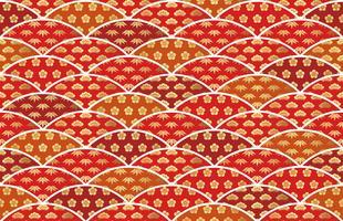 Traditioneel gunstig Japans patroon met grenen, bamboe en pruimen. vector
