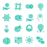 Wereldwijde business gradient pictogrammen instellen vector