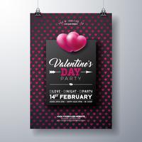 Valentijnsdag partij Flyer met rood hart patroon