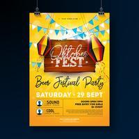 Oktoberfest partij flyer ontwerpen met typografie belettering vector