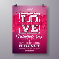 Valentines Day Party Flyer Design met liefde vector
