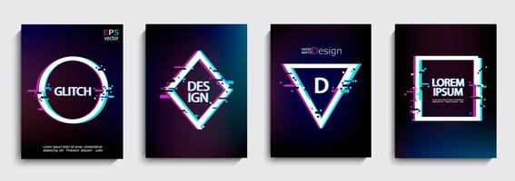 Set geometrische vormen, frames met glitch-stijl.