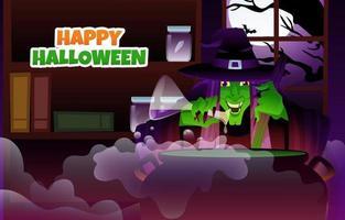 heks kookt in de nacht van Halloween vector