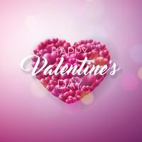 Valentijnsdag ontwerp met rood hart op glanzende achtergrond. vector