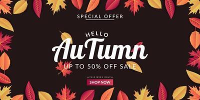 herfst verkoop achtergrond sjabloonontwerp vector