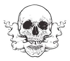 Rokende schedel Art vector