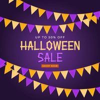 Halloween-verkoopposter met vlaggen en slinger op blauwe achtergrond vector