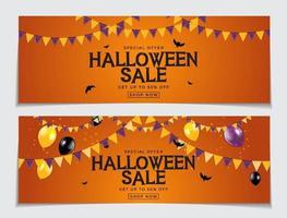 Halloween-verkoopposter met vlaggen en slinger vector