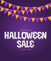Halloween-verkoopposter met vlaggen en slinger op paarse achtergrond vector