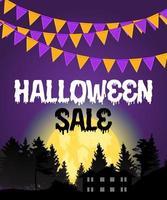 halloween verkoop poster met vlaggen en slinger op paarse achtergrond. vector