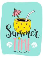 Leuke heldere zomer kaart met cocktail in ananas en handgetekende letters vector