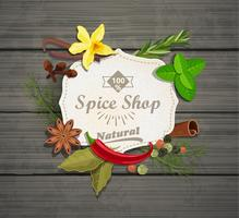 Spice winkel papier vintage frame. vector