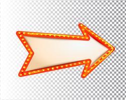 Lichtend geïsoleerde retro lamp licht frame pijl vector