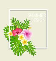 Het frame van de zomer met tropische bloemen. vector