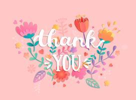 Dank u handgeschreven inscriptie met bloemen.