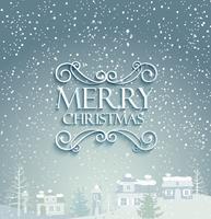 Vrolijk kerstfeest met winter achtergrond.