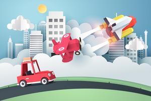 Papierkunst van spaceshuttle, vliegtuig en auto in de stad