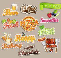 Set van voedsel stickers. vector