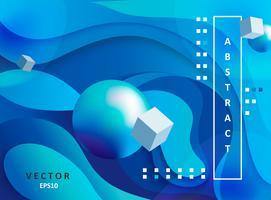 Abstracte gradiëntachtergrond met ballen en kubussen. vector