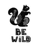 Zwart-witte kaart met letters en eekhoorn.