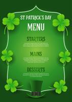 St Patrick's Day-menuontwerp met hoge zijden en klaver