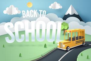 De kunst van het document van schoolbus die op landweg loopt