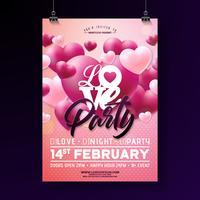 Valentijnsdag partij flyer vector