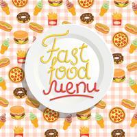Fast Food-menu met plaat. vector