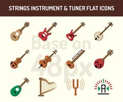String instrument pictogramserie. Vlakke pictogrammen baseren zich op 48 pixels met perfecte pixels vector