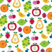 schattig fruit met gezichten patroon op wit