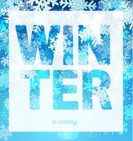 De winter komt uit de print-slogan.