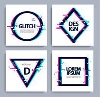 Set geometrische vormen, frame met glitch-stijl.