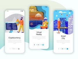 Set onboarding-schermen gebruikersinterfacekit voor Cryptocurrency, Smart City