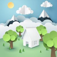 Papierkunst van boom rond huis, wereld duurzaam milieuvriendelijk concept