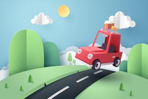 Papierkunst van rode auto springen op heuvel, origami en reizen concept