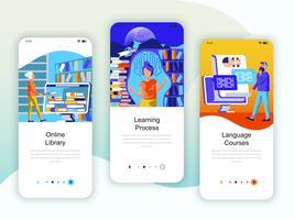 Set van onboarding-schermen, gebruikersinterfacekit voor bibliotheek, leren, taalcursussen vector