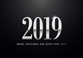 2019 Vakantie Vector groet illustratie met zilveren nummers.