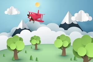 Document kunst van roze vliegtuig die in het hemel, origami en reisconcept vliegen
