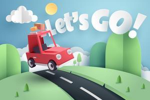 Papieren kunst van rode auto springen op heuvel met laten we gaan tekst, origami en reizen concept