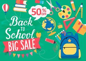 Banner Back To School grote verkoop, 50 procent korting. vector