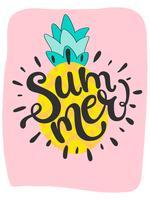 Leuke heldere zomer kaart met ananas en handgetekende woord zomer vector