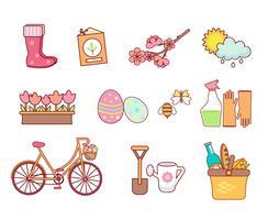 Set van 11 platte kleurrijke lente pictogrammen vector